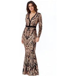 Goddiva Stephanie Pratt – Deep V Neck Sequin Embroidered Maxi Dress – Champagne Womens Clothing