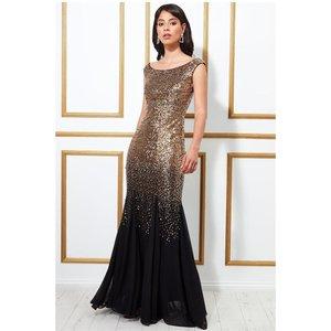 Goddiva Stephanie Pratt – Sequin And Chiffon Maxi Dress - Blackgold Womens Clothing