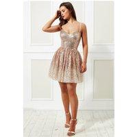 Goddiva Stephanie Pratt – Spaghetti Strap Sequin And Chiffon Mini Skater Dress - Champagne Womens Clothing