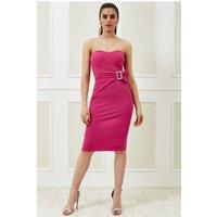 Goddiva Vicky Pattison – Buckle Bandeau Midi Dress - Cerise Womens Clothing