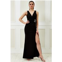 Goddiva Vicky Pattison – Buckle Front Maxi Dress - Black Womens Clothing