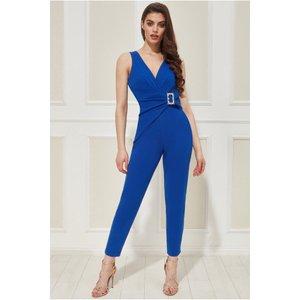 Goddiva Vicky Pattison - Buckle Plunge Jumpsuit - Royalblue Womens Clothing