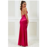 Goddiva Vicky Pattison – Cowl Neck With Strappy Back Maxi Dress - Cerise Womens Clothing