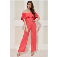Goddiva Vicky Pattison – Frilled Off The Shoulder Jumpsuit - Coral Womens Clothing