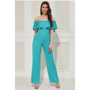 Goddiva Vicky Pattison – Frilled Off The Shoulder Jumpsuit - Turquoise Womens Clothing