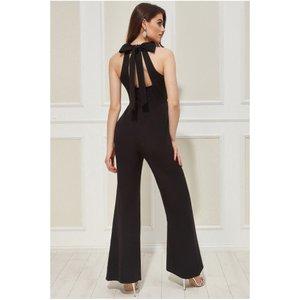 Goddiva Vicky Pattison – Halter Neck Jumpsuit - Black Womens Clothing