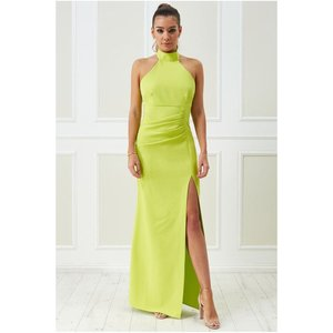 Goddiva Vicky Pattison – Halter Neck Maxi Dress - Lime Womens Clothing