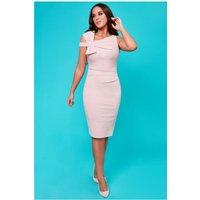 Goddiva Vicky Pattison – Side Shoulder Bow Midi Dress - Blush Womens Clothing