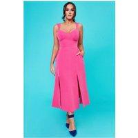 Goddiva Vicky Pattison – Strap Tea Dress With Slits - Cerise Womens Clothing