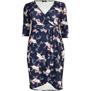 **aarya Navy Blue 3/4 Sleeve Plus Size Wrap Dress, Navy 552020000488182 Ev72a13anvy, Navy