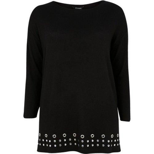 Evans Black Stud Detail Soft Touch Tunic Top, Black 552019000475847 Ev16n17dblk, Black