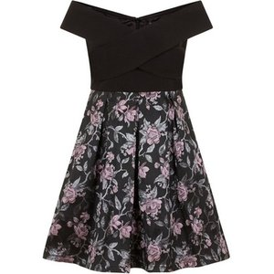 **chi Chi London Black Foldover Bardot Skater Dress, Black 552018000449685 Ev81a20zblk, Black