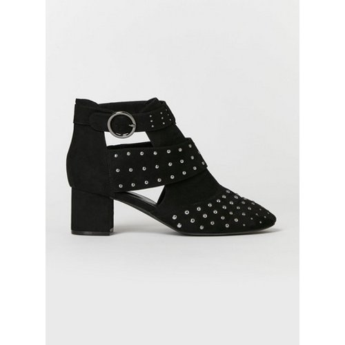 Evans Extra Wide Fit Black Cut Out Studded Ankle Boots, Black 552019000474085 Ev20a99dblk, Black