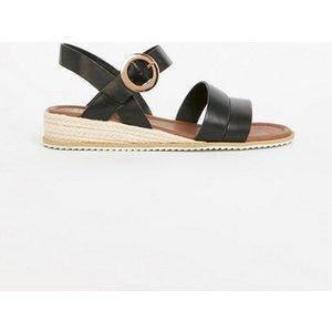 Evans Extra Wide Fit Black Espadrille Low Wedge Sandals, Black 552020000486868 Ev20n15fblk, Black