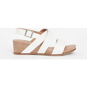 Evans Extra Wide Fit White Strappy Comfort Wedge Sandals, White 552020000485327 Ev20h10fwht, White