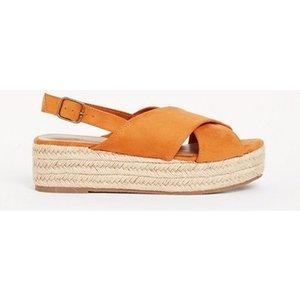 Evans Extra Wide Fit Yellow Flatform Espadrilles, Orange 552020000485301 Ev20h09fylw, Orange