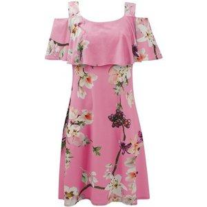 **grace Pink Cold Shoulder Floral Print Dress, Pink 552019000463132 Ev64h85zpnk, Pink