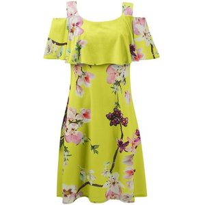 **grace Yellow Cold Shoulder Floral Print Dress, Pale Yellow 552019000465478 Ev64h94zylw, Pale Yellow