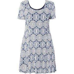 **izabel Curve Navy Blue Mosaic Print Skater Dress, Navy 552020000491727 Ev73a38anvy, Navy