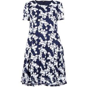 **izabel Curve Navy Blue Floral Sheer Skater Dress, Navy 552020000491764 Ev73a31anvy, Navy