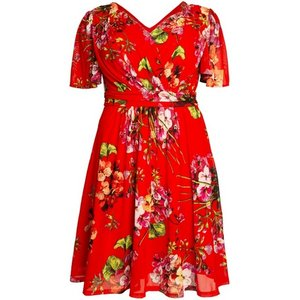 **j By Jolie Red Floral Print Fit And Flare Dress, Red 552019000480239 Ev71a03ared, Red