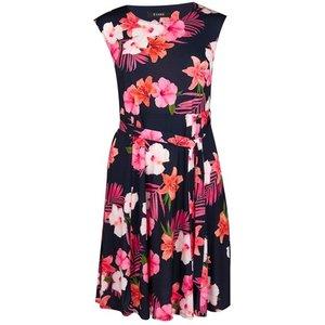 Evans Navy Blue Tropical Print Fit And Flare Dress, Bright Multi 552019000465817 Ev04e09jmul, Bright Multi