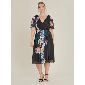 **scarlett & Jo Black Floral Wrap Dress, Black 552019000459924 Ev70c46zblk, Black