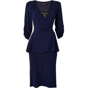 **scarlett & Jo Navy Blue Tuxedo Peplum Dress, Navy 552019000467733 Ev70c40znvy, Navy
