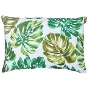 GoodHome Agathe Palm Leaf Green & White Cushion
