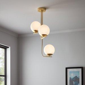 Goodhome Baldaz Brushed Brass Effect 3 Lamp Pendant Ceiling Light  (dia)400mm