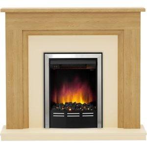 Be Modern Dallington Black Chrome Effect Electric Fire Suite