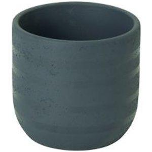 Goodhome Blue Coral Clay Striped Plant Pot (dia)10.2cm