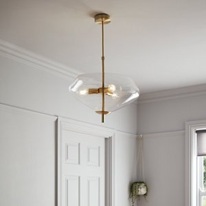 Goodhome Capolin Brushed Brass Effect 3 Lamp Pendant Ceiling Light  (dia)450mm