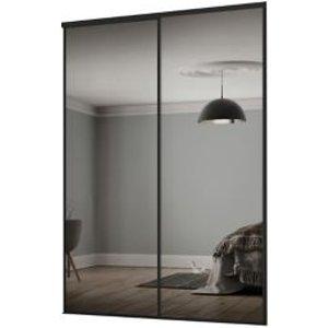 Spacepro Classic Mirrored Black 2 Door Sliding Wardrobe Door Kit (h)2260mm (w)1793mm