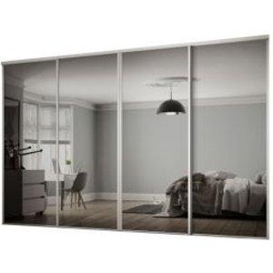Spacepro Classic Mirrored Sliding Wardrobe Door Kit (h)2260 Mm (w)2978mm  Pack Of 4