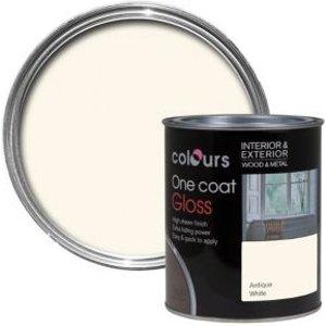 Colours One Coat Antique White Gloss Wood & Metal Paint 0.75l