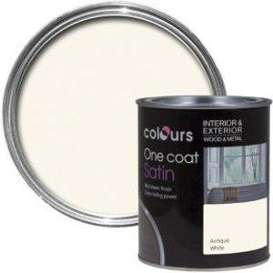 Colours One Coat Antique White Satin Wood & Metal Paint 0.75l