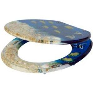 Cooke & Lewis Andrano Multicolour Tropical Fish Standard Close Toilet Seat