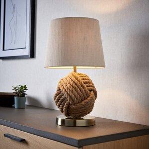Crantock Brushed Cream Round Table Lamp