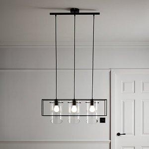 Goodhome Daluiz Matt Black 3 Lamp Pendant Ceiling Light
