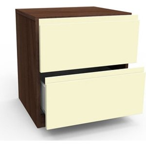 Form Darwin Gloss Cream Walnut Effect 2 Drawer Bedside Chest (h)548mm (w)500mm (d)420mm