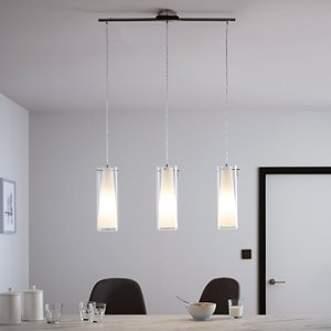 Goodhome Dimonika White Chrome Effect 3 Lamp Pendant Ceiling Light  (dia)110mm