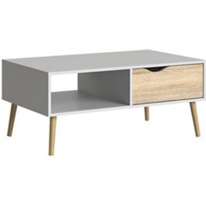 Ebru Matt White Oak Effect Painted 1 Drawer Coffee Table (h)433mm (w)987mm (d)602mm
