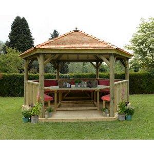 Forest Garden Furnished Cedar Roof Hexagonal Gazebo (w)4900mm (d)4240mm (red Cushion Inclu