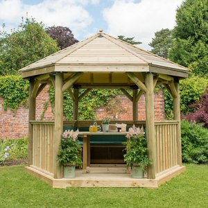 Forest Garden Furnished Hexagonal Gazebo  (w)3.78m (d)3.27m With Floor Included - Assembly