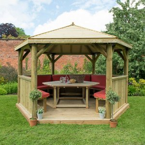Forest Garden Furnished Timber Roof Hexagonal Gazebo (w)4900mm (d)4240mm (red Cushion Incl