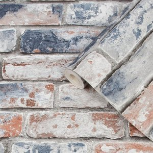 Fresco Blue & Red Brick Distressed Effect Smooth Wallpaper