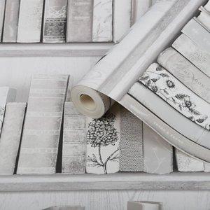 Fresco Botany Blue & Grey Library Smooth Wallpaper