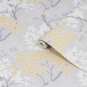 Fresco Lykke Grey & Ochre Tree Smooth Wallpaper
