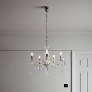 Goodhome Gacruz Transparent Chrome Effect 5 Lamp Pendant Ceiling Light  (dia)570mm